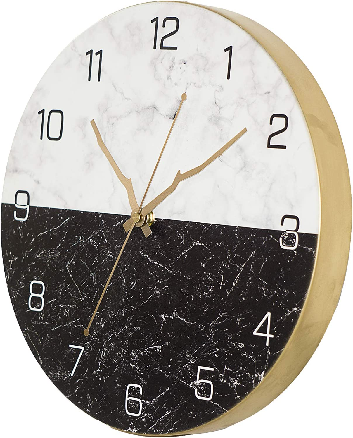 N/A 12 Inch Round Quartz Stylish Marble Wall Clock Non Ticking for Home Battery Operated.