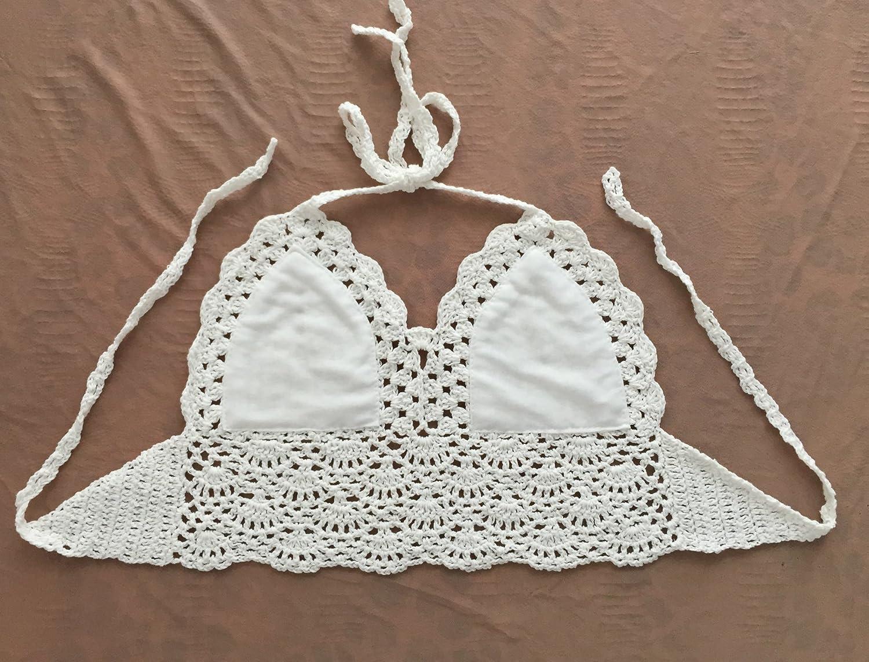 Huixin Camisolas Mujer Bikini Crochet Sin Mangas V Cuello Tirantes Tank Top Espalda Descubierta Slim Fit Crop Tops Verano Playa Vintage Boho Ganchillo ...