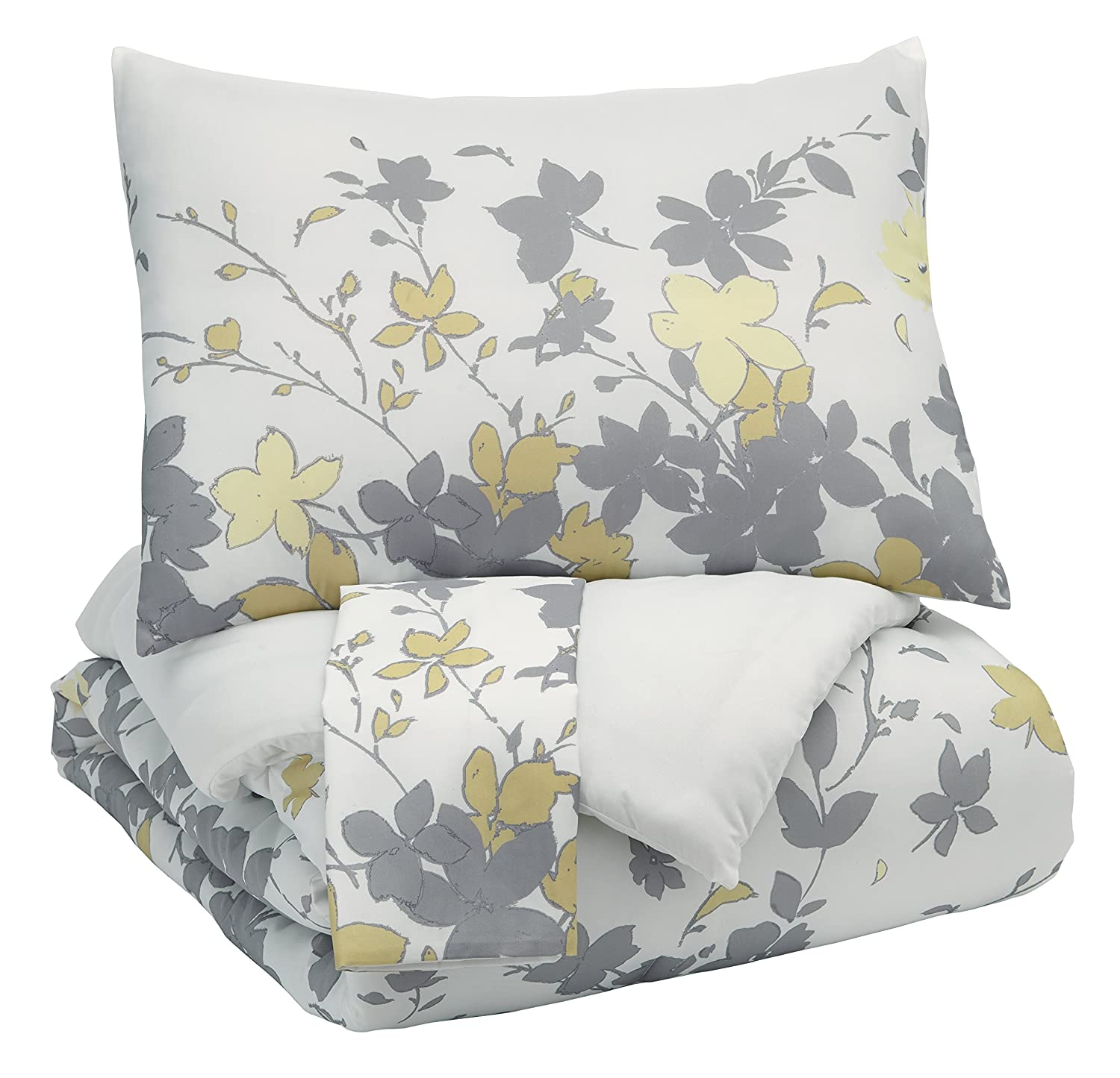 Signature Design by Ashley Q388003Q Maureen 3 Piece Queen Comforter Set Gray/Yellow