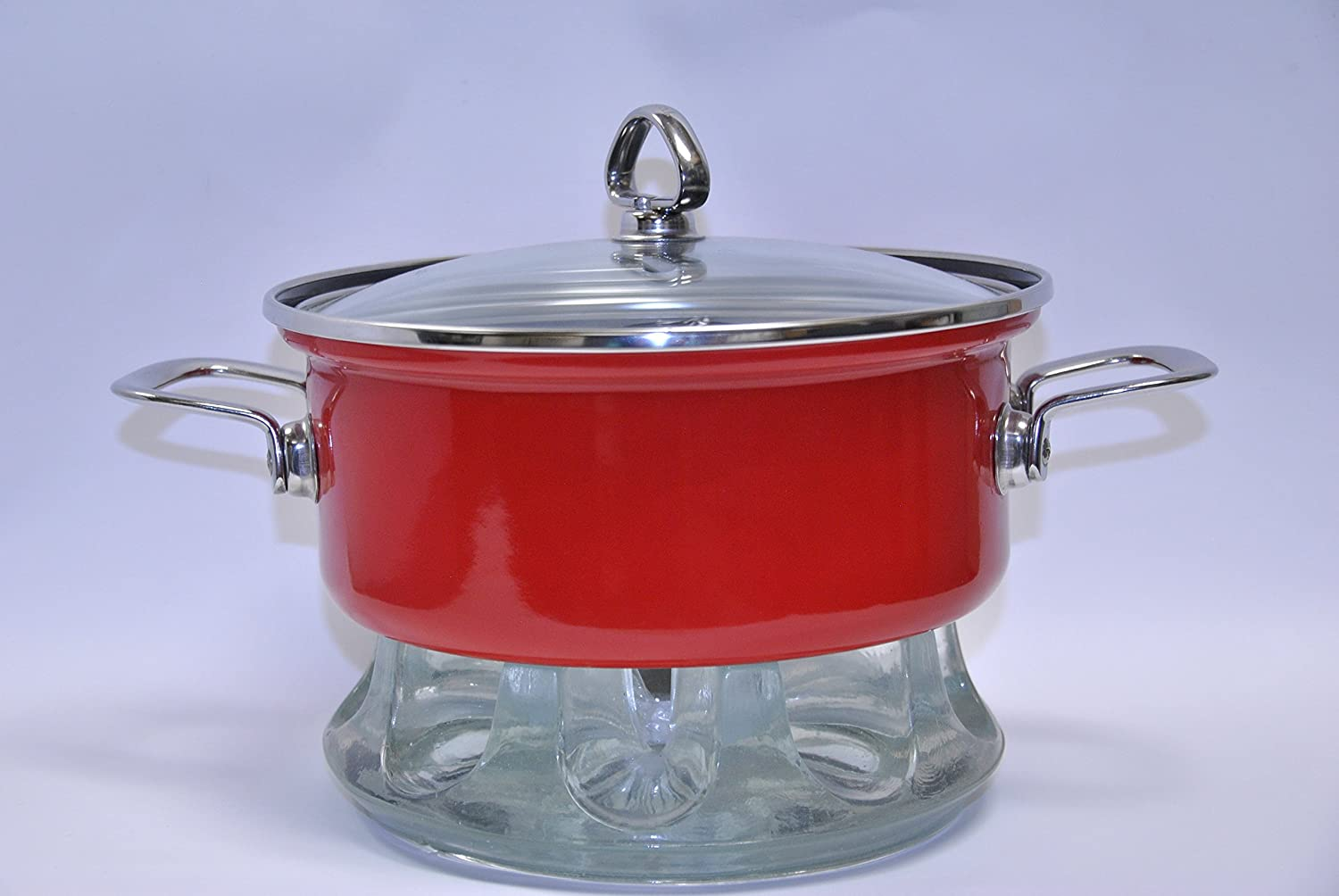 Red 3 Qt Chantal Buffet Casserole with Glass Warming Stand