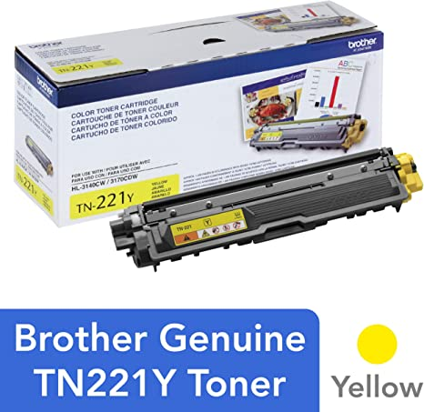 Brother Genuine Standard Yield Toner Cartridge, TN221Y, Replacement Yellow Color Toner, Page Yield Up To 1,400 Pages, Amazon Dash Replenishment ...