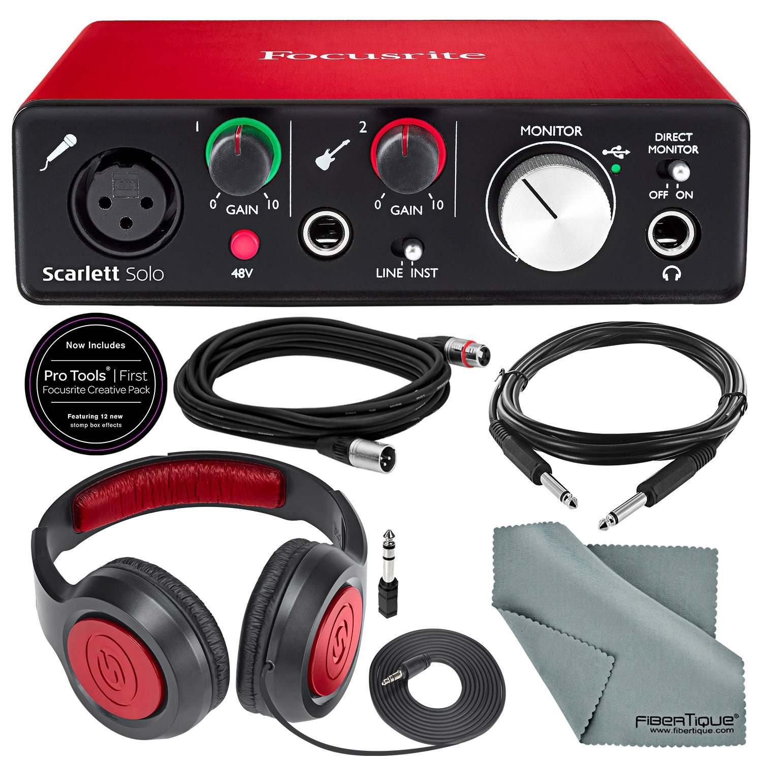 Focusrite Scarlett Solo USB Audio Interface (2nd Generation) Bundle with XLR Cable + 1/4 Inch Cable + Samson Studio Headphones + FiberTique Cleaning cloth 4334426833