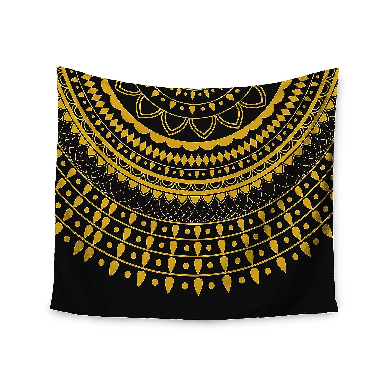 Kess InHouse Famenxt Golden Vibes Mandala Gold Black Digital 51 x 60 Wall Tapestry