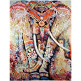 Dremisland Indian Wall Hanging Elephant Tapestry Psychedelic Bohemian Tapestries Bohemian Room Decor Bedding Rug(Orange Elephant)