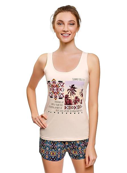 oodji Ultra Mujer Pijama Estampado con Pantalón Corto, Beige, ES 36 / XS