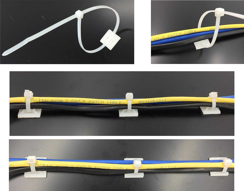 intervisio Juego Soportes Adhesivos para Bridas de Cable 19 mm x 19mm/Clips Adhesivo para las brida de plastico/Base de montaje sujetacables autoadhesivos ...