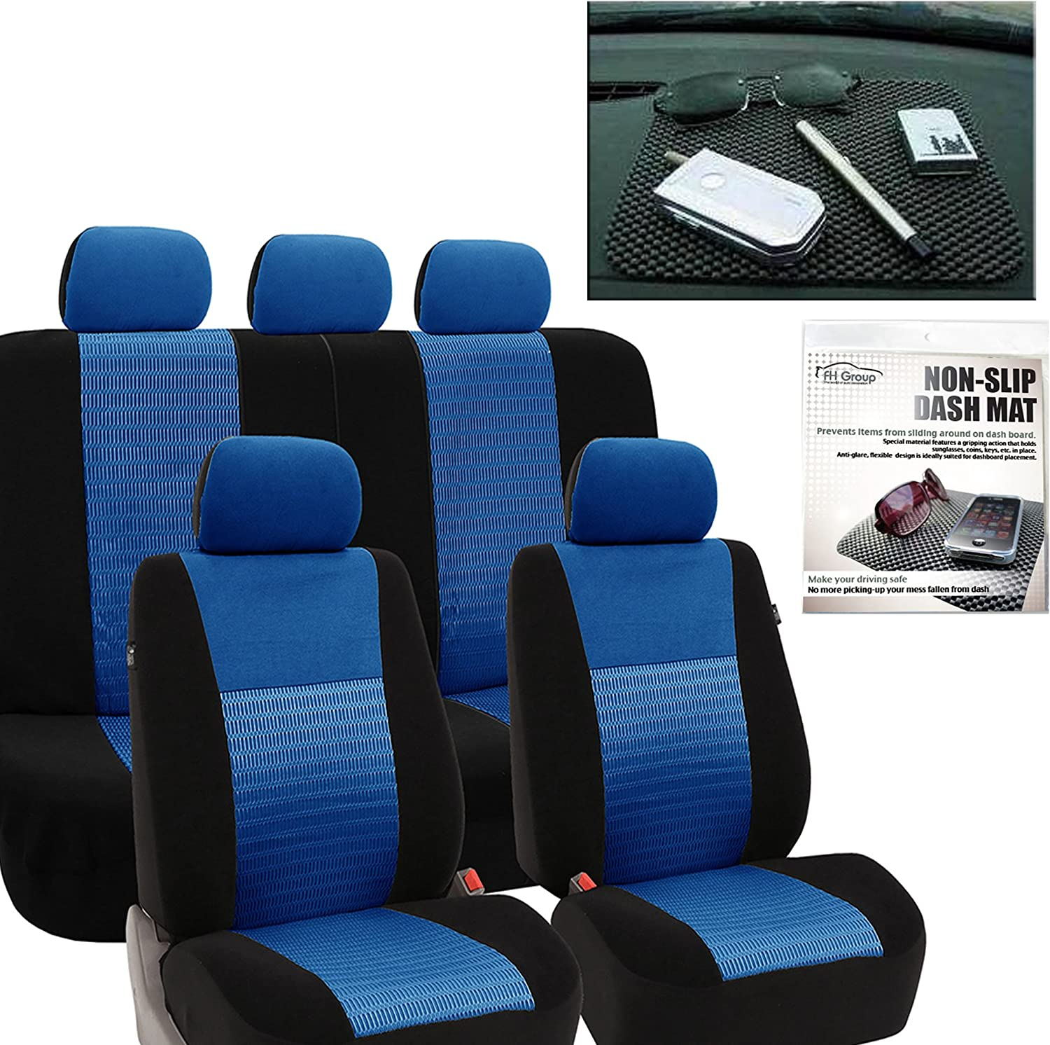 FH Group FH-FB060115 Trendy Elegance Car Seat Covers Blue/Black, Airbag Compatible and Split Bench FH1002 Non-Slip Dash Grip Pad - Fit Most Car, Truck, SUV, or Van