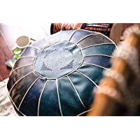 "RISEON Boho Handmade Faux PU Leather Moroccan Pouf Footstool Ottoman Leather Poufs Unstuffed 23"" x 11"" -Round Floor…"