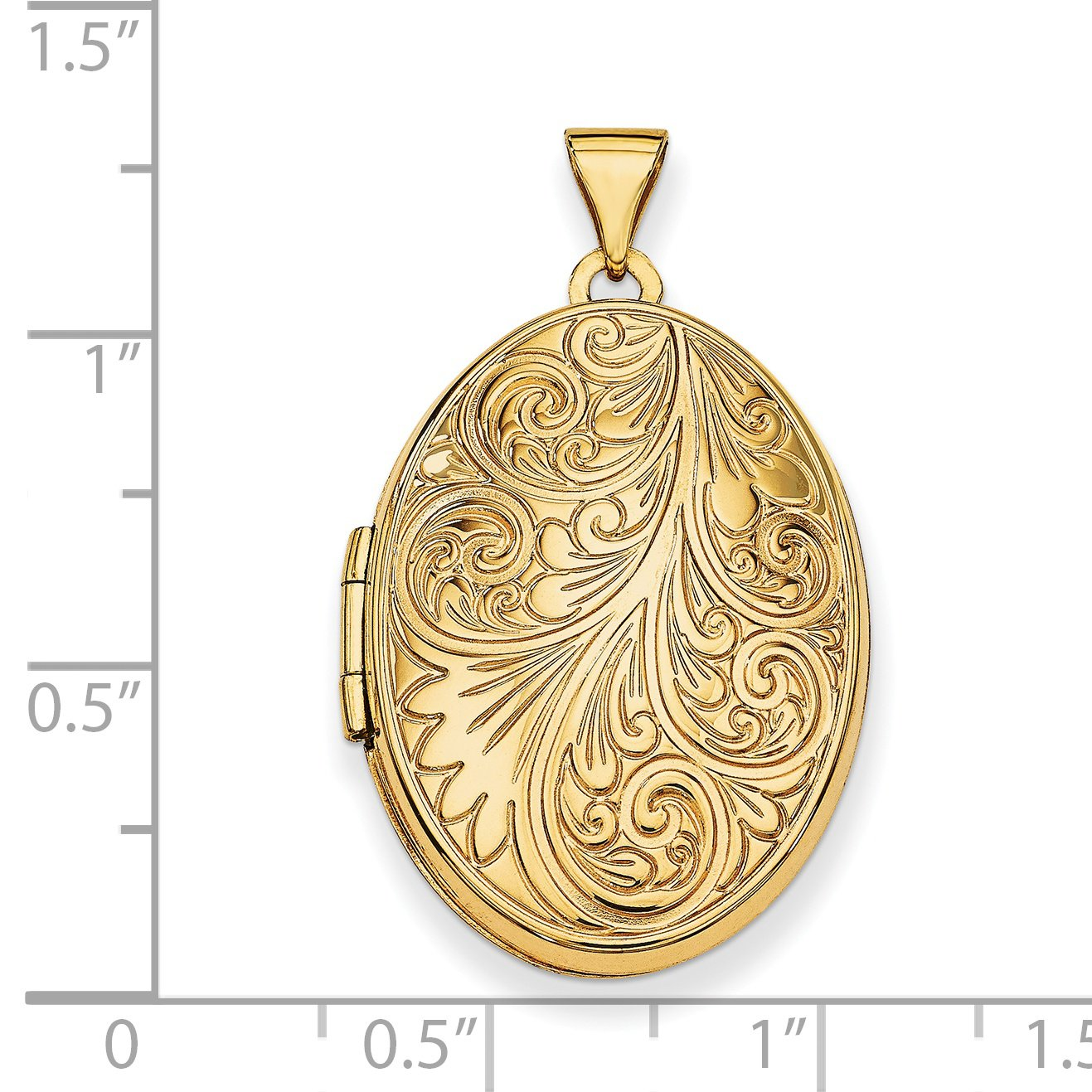 Roy Rose Jewelry 14K Yellow Gold Scroll Oval Locket 34x26mm by Roy Rose Jewelry (Image #3)