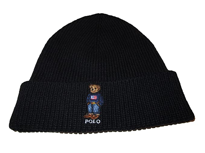 99cd165e3bd59 Image Unavailable. Image not available for. Colour  Ralph Lauren Polo Mens  Cotton Blend USA Bear Beanie ...