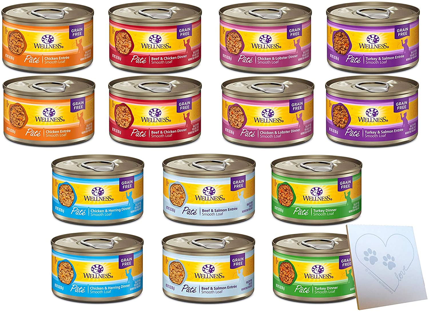 Wellness Grain-Free Huge Variety Pack - All 7 Flavors: Turkey & Salmon, Beef, Turkey, Chicken & Lobster, Chicken & Herring, Chicken, and Beef & Salmon Plus Pet Paws Notepad (3oz Each, 14 Total Cans)