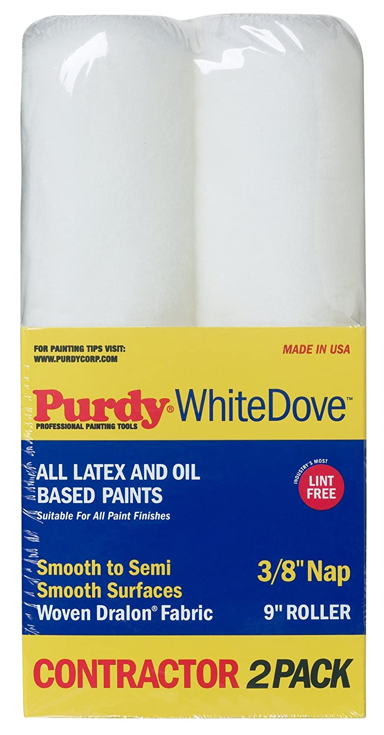 Purdy 14C863300 White Dove Roller Cover, 2 pack, 9 inch x 3/8 inch ...