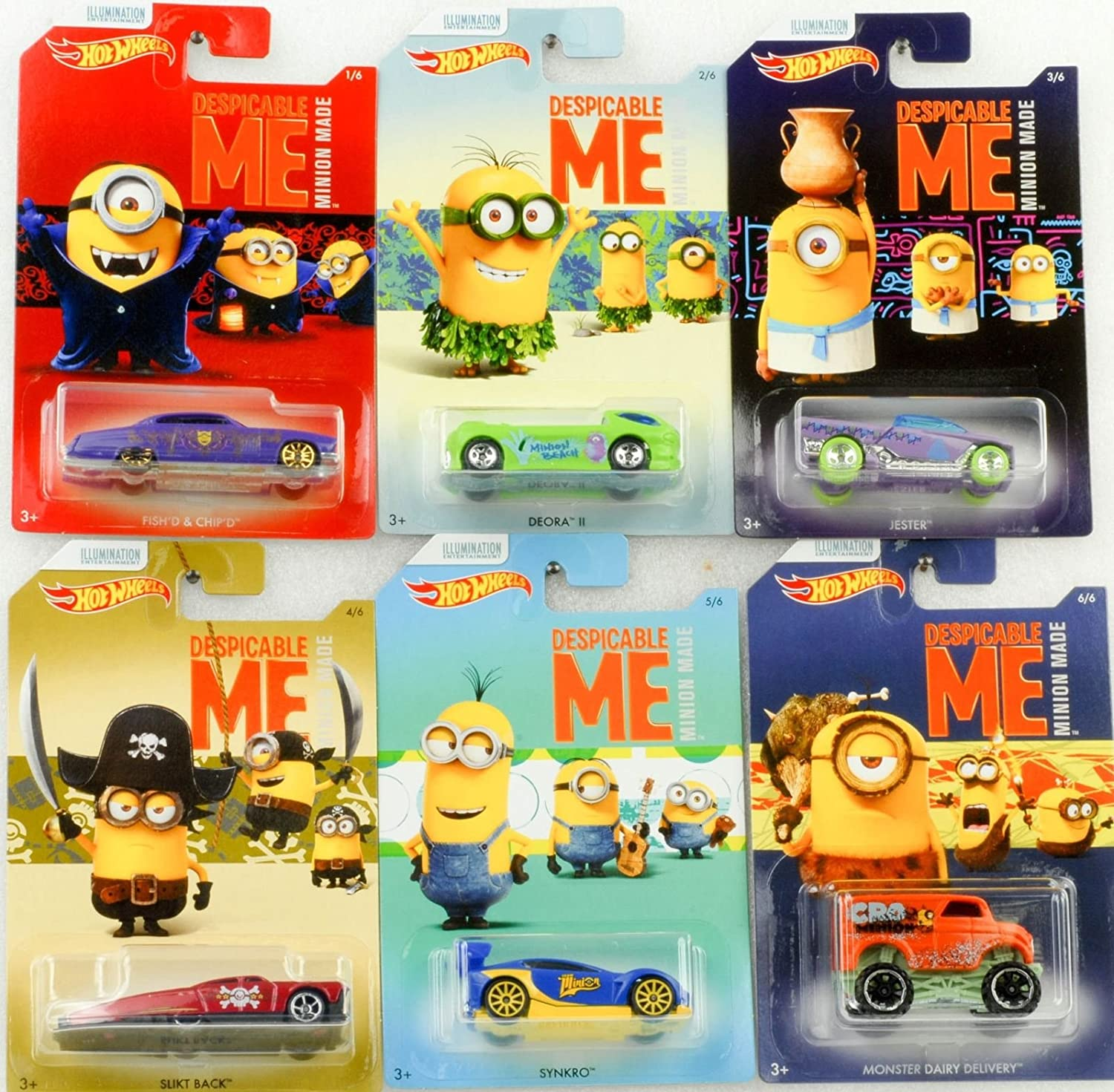 Hot Wheels Minions Selecting The Minions Despicable Me Minion Made Set Of 6 Character Vehicles Die Cast Vehicles Amazon Co Uk Kitchen Home