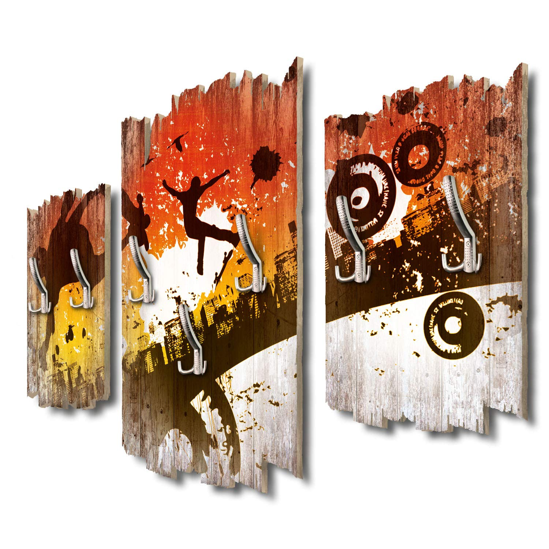 Kreative Feder Skateboarder City Designer Wandgarderobe Flurgarderobe Wandpaneele 95 x 60 cm aus MDF DTGH133