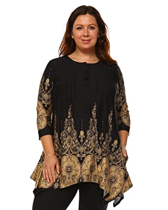 69f81df188e Beige Mark Dulce Pailsey Damask Printed Tunic Top in Black   Beige - 1XL