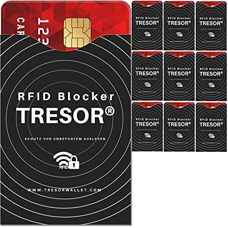 986c16cf1fa5a TRESOR® - RFID Schutzhülle Blocker 10er Set Hüllen gegen Datenklau für  Kreditkarten