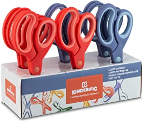 Kinderific Left Handed Scissors, for Kids and Schools, Soft Grip, Pack of 12