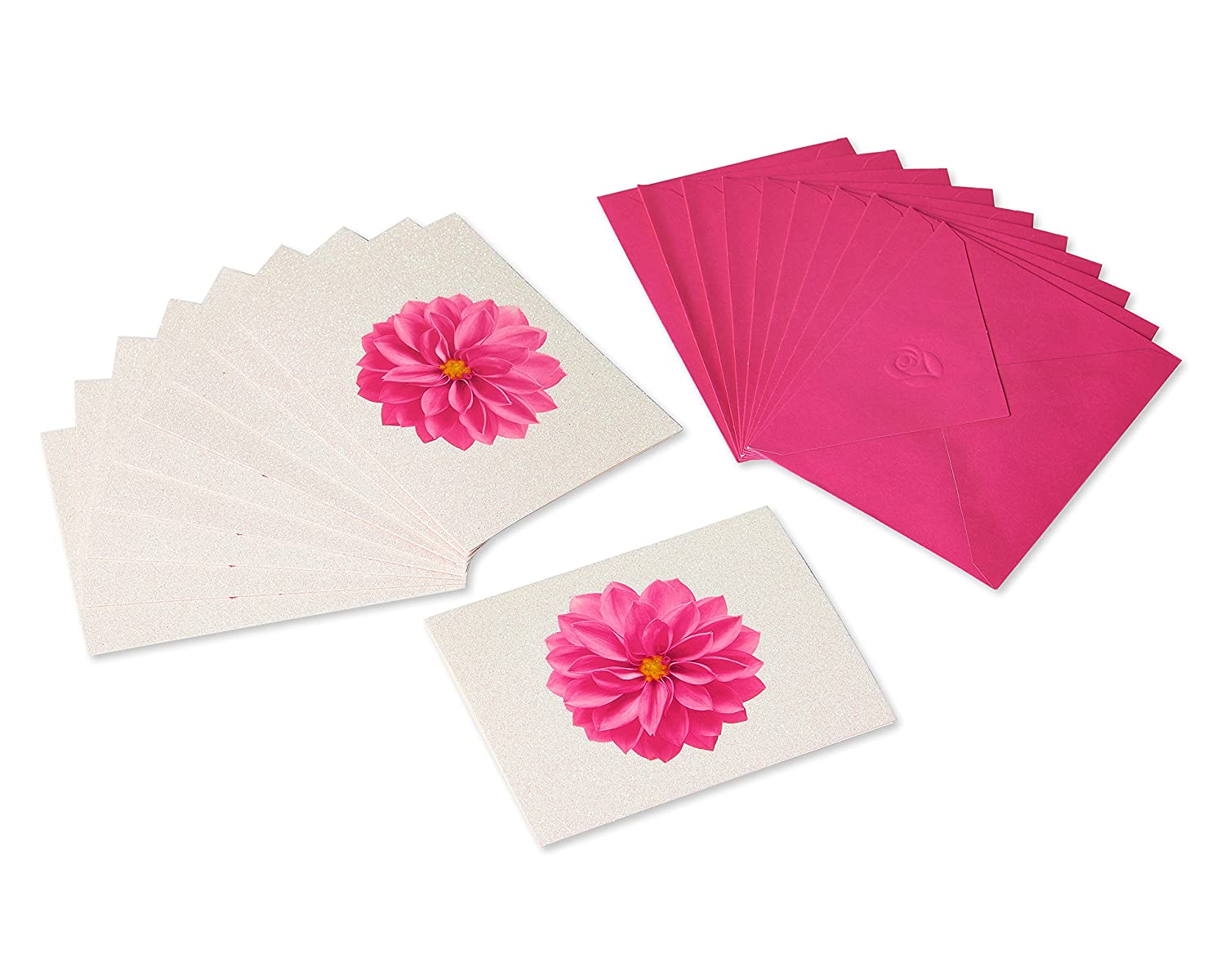 Pink//White American Greetings 10 Count Dahlia Blank Cards