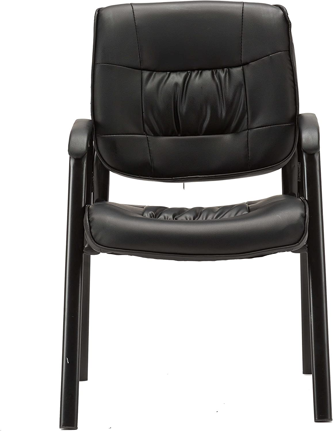BTExpert Sleek Premium Leather Office Executive Waiting Room Guest/Reception Side Conference Chair, Black,