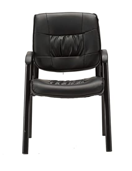 BTEXPERT Premium Leather Office Executive Waiting Room Guest/Reception Side Conference  Chair, Black
