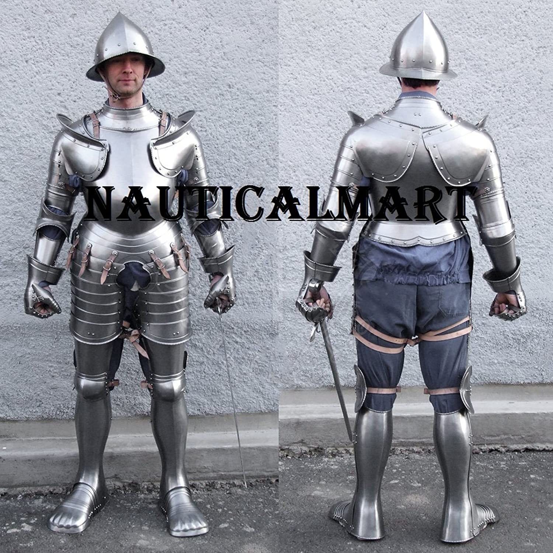 NauticalMart Samurai Gothic Knight Full Suit of Armor With horns 15th Century Black Antique Armour B0799GQ7TS