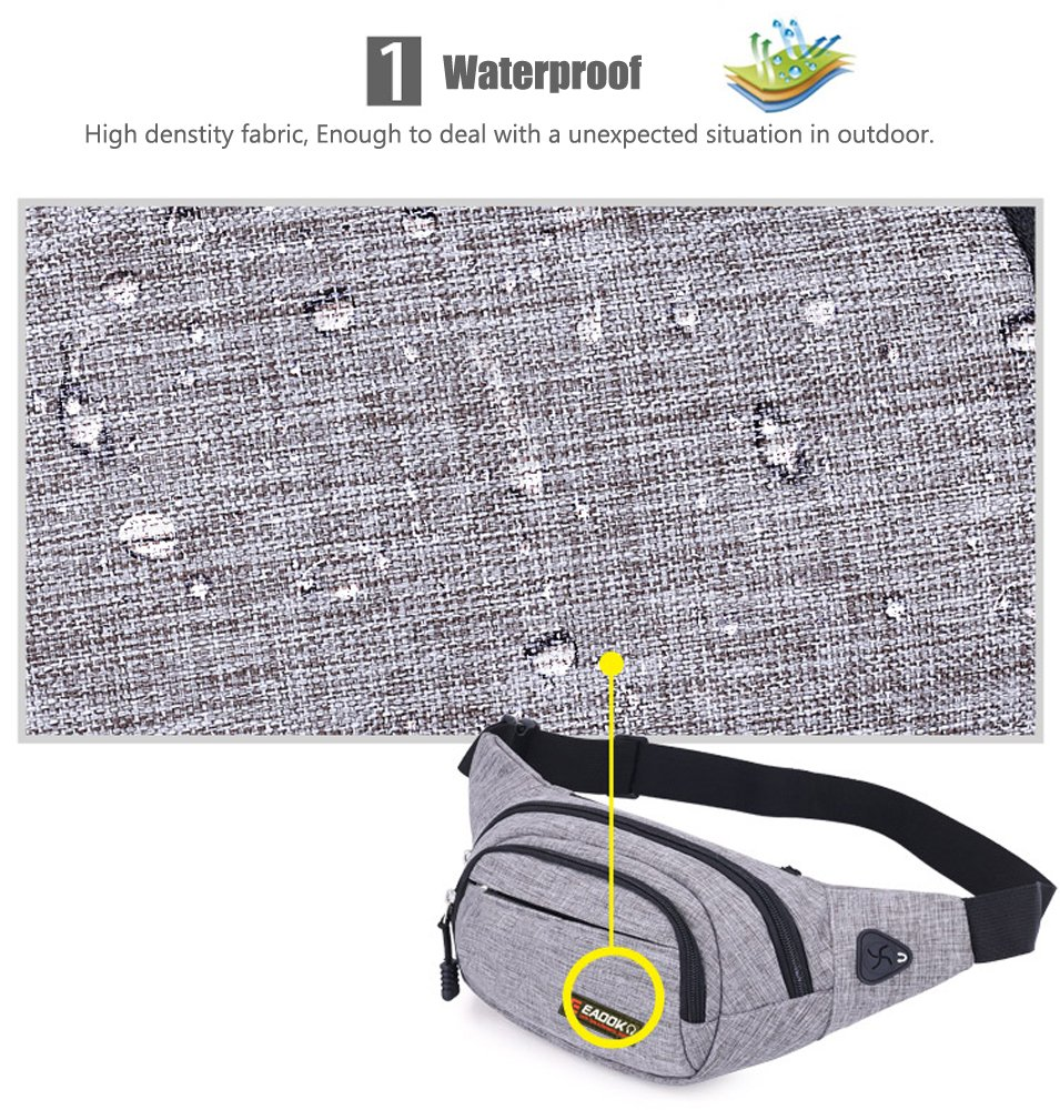 EAOOK Waterproof Travel Belt,Big Fanny Pack for Outdoor Sport/Money Belt(Grey) by EAOOK (Image #3)
