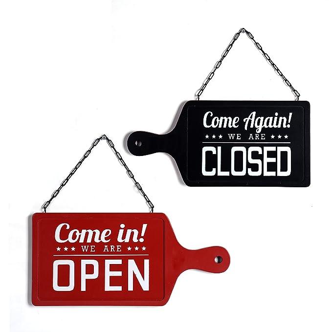 NIKKY HOME Madera antipasti Junta con Forma de Doble Cara Abierto/Cerrado para Colgar Shop Sign