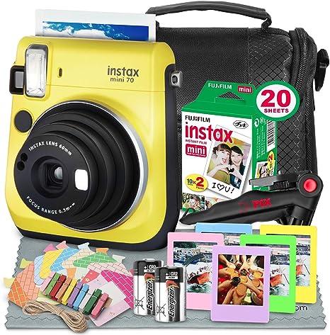 Fujifilm Instax Mini 70 Cámara de película instantánea (amarillo) con paquete de accesorios de lujo Instax