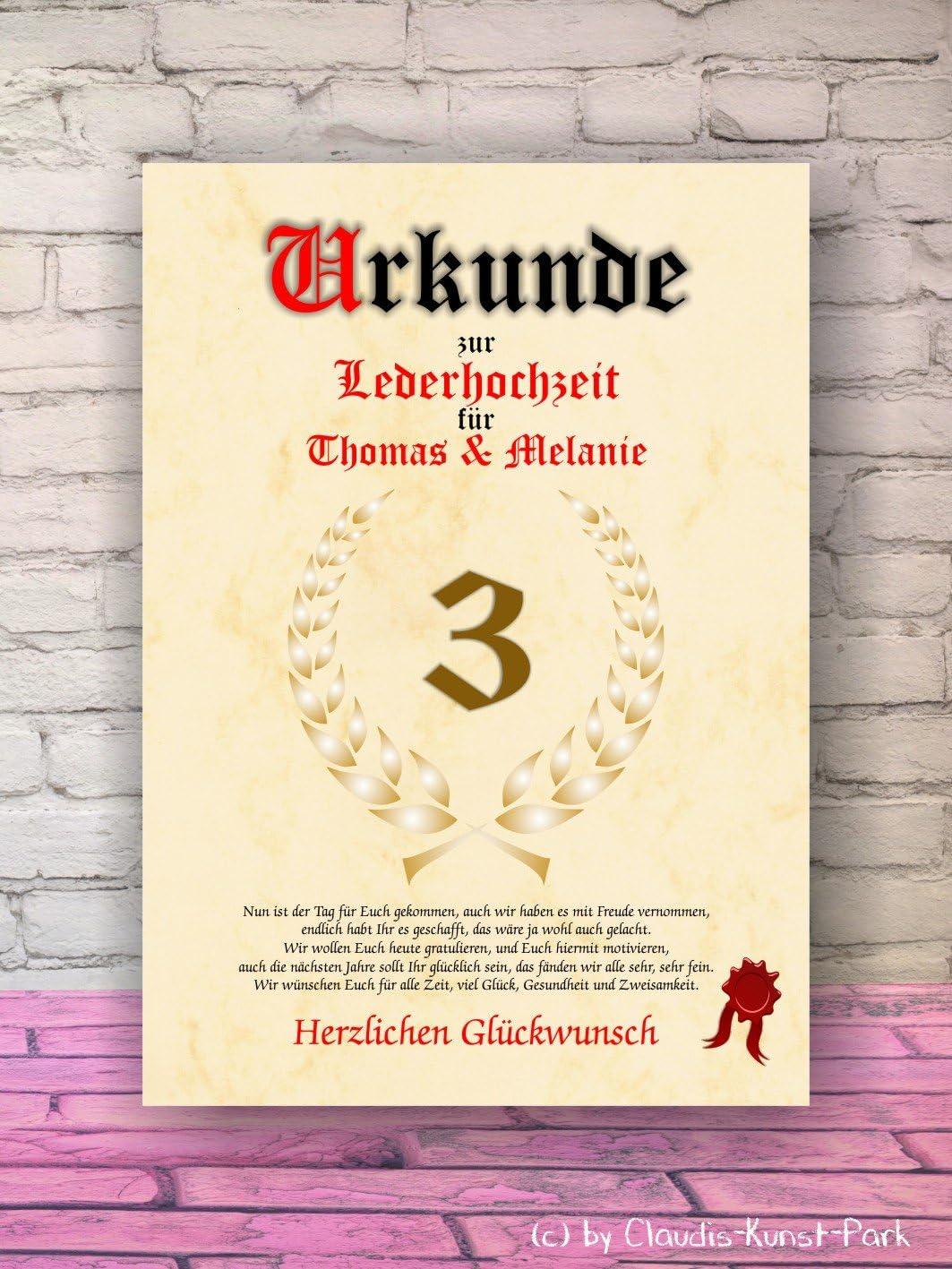 Urkunde personalisiertes Geschenk mit Name Karte 3 Hochzeitstag 3 Jahrestag Mann Frau Geschenkidee f/ür Partner oder Partnerin pers/önliches Geschenk