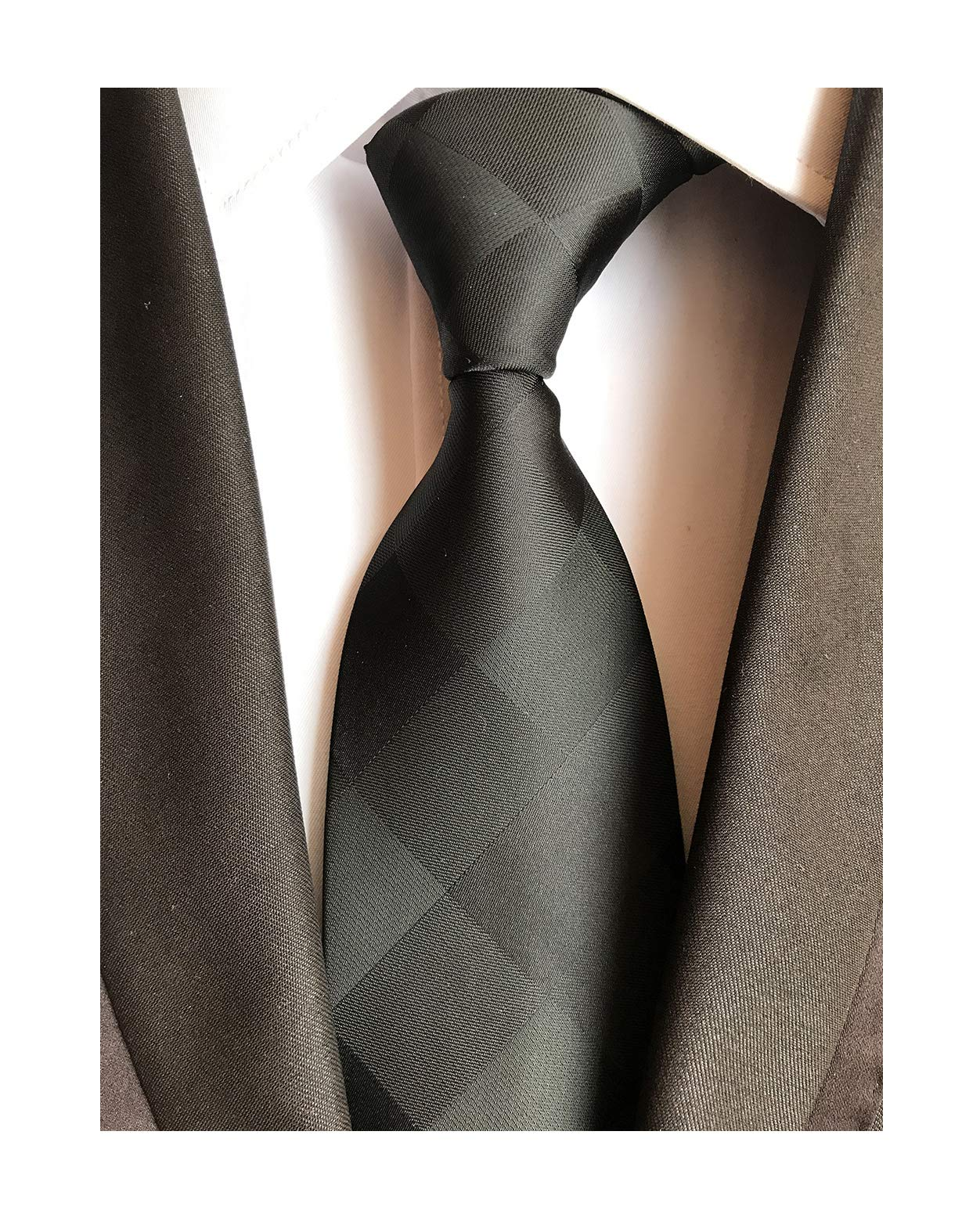 Mens Solid Black Check Party Ties Extra Long Elegant Banquet Formal Prom Necktie