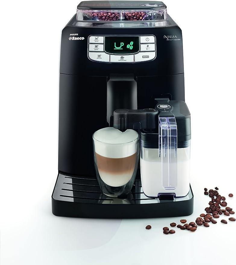 Saeco Intelia - Cafetera espresso automática, con recipiente para leche, color negro: Amazon.es: Hogar