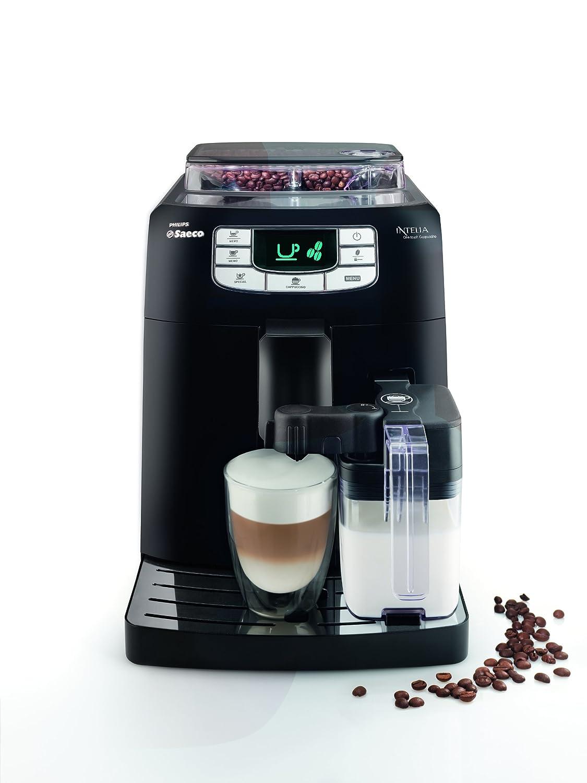Saeco Intelia - Cafetera espresso automática, con recipiente para leche, color negro