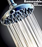"WantBa 6"" High Pressure Rainfall Massage ShowerHead - Can Be Disassembled To Clean The Nozzles - For Wall Mount Shower head - Chrome"