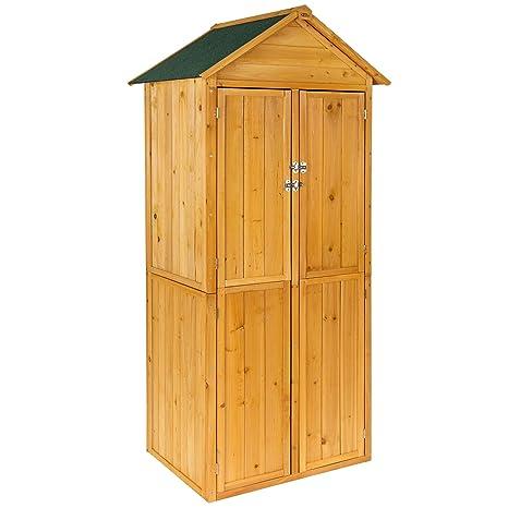 TecTake Armadio da esterno in legno casetta per gli attrezzi   tetto ...