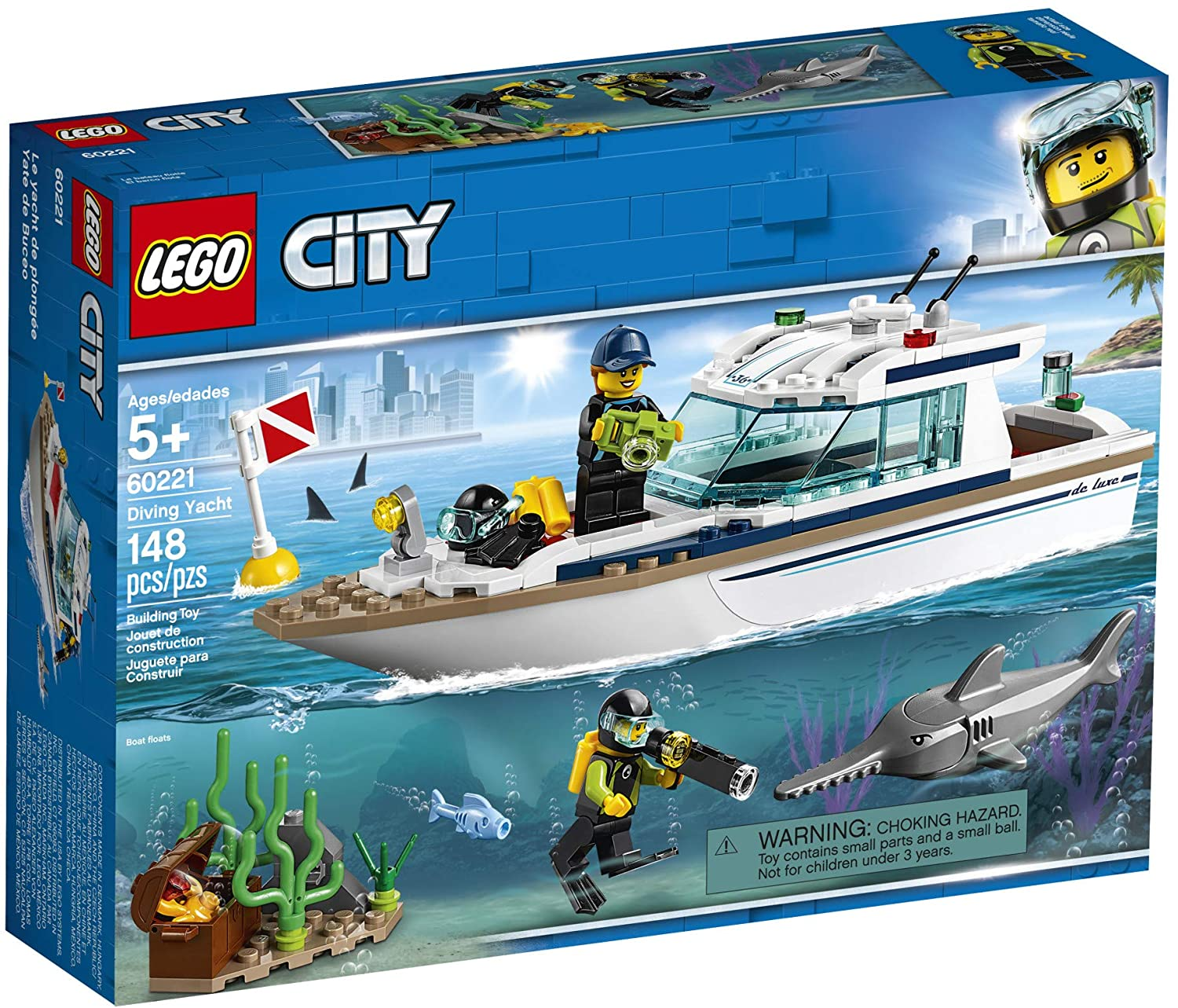 148 Piece LEGO City Great Vehicles Diving Yacht 60221 Building Kit New 2019