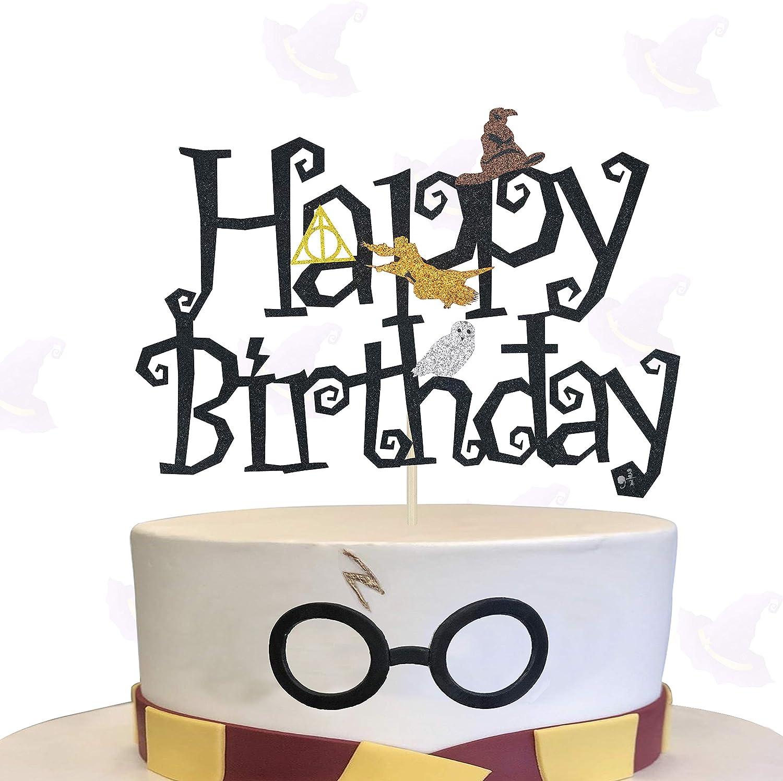 Fabulous Kapokku Double Sided Glitter Black Wizard Happy Birthday Cake Funny Birthday Cards Online Elaedamsfinfo