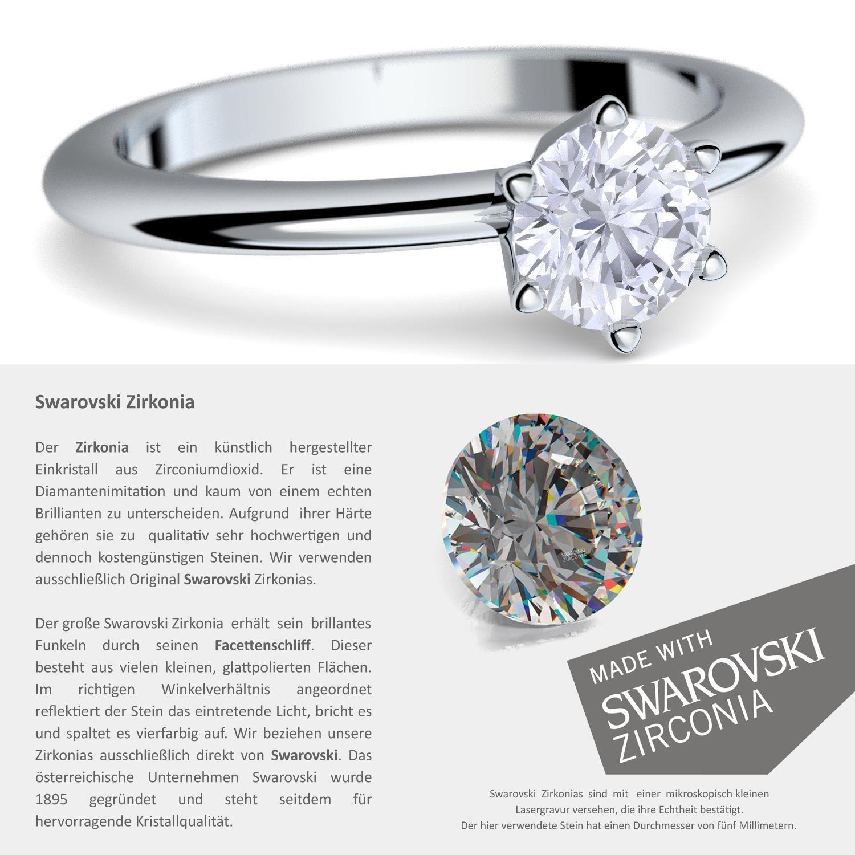 Anillos ** Compromiso anillos con cristales de Swarovski piedra ** + estuche con grabado! Matrimonio petición Anillo de plata anillo boda idea tales como el ...