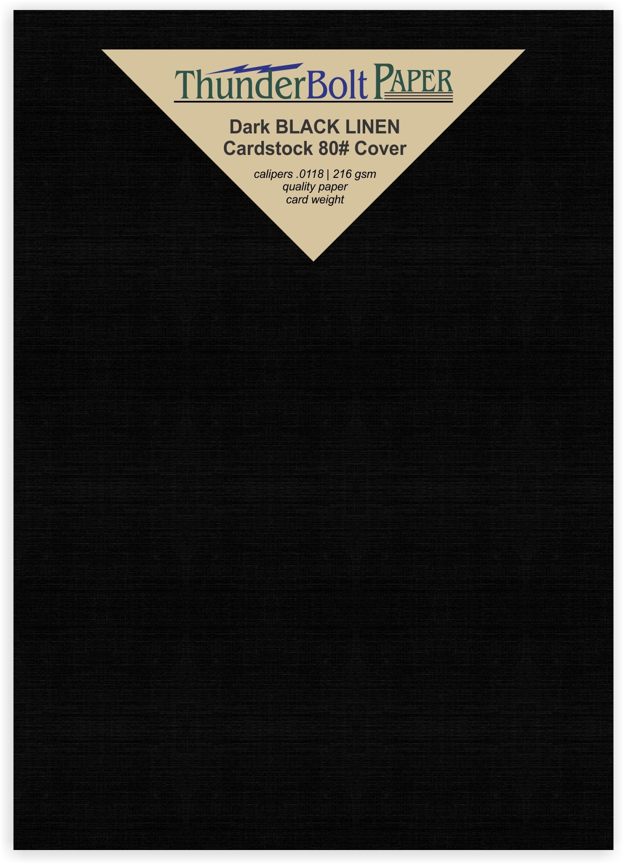 100 Black Linen 80# Cover Paper Sheets -5.5'' X 8.5'' (5.5X8.5 Inches) Half Letter | Statement Size - Card Weight - Deep Dye, Fine Linen Textured Finish - Quality Cardstock