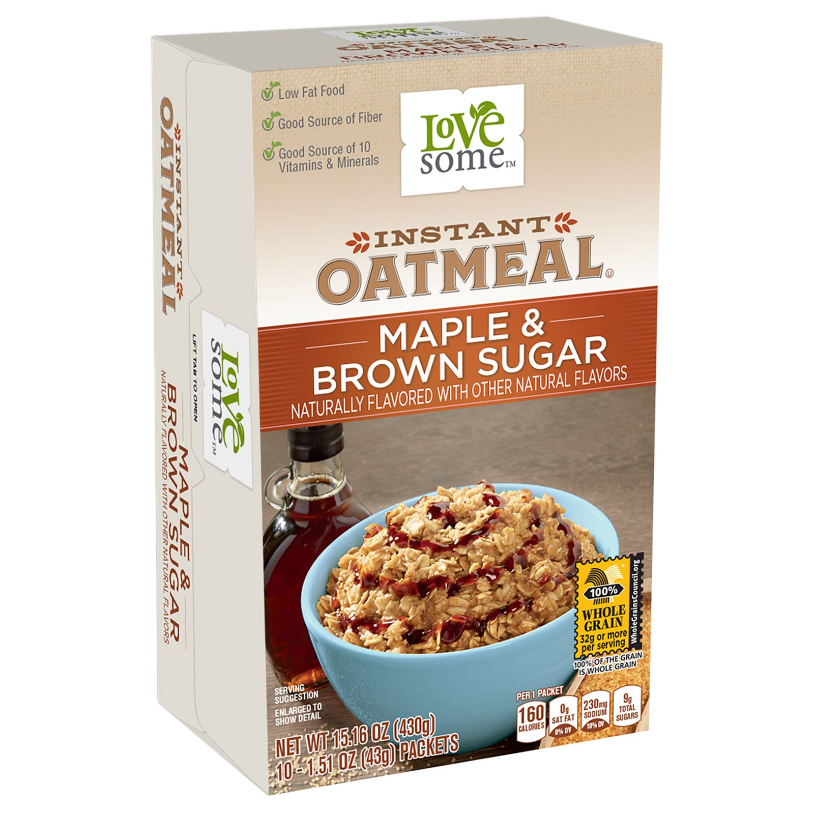 LoveSome Instant Oatmeal Maple Brown Sugar, 15.1 Ounce (Pack of 12)