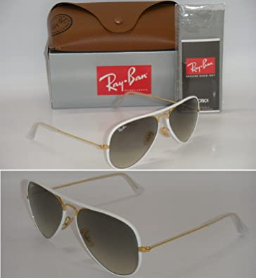 f5b33196e Image Unavailable. Image not available for. Color: Ray Ban Aviator Full  Color RB 3025JM 146/32 58mm White/Grey Gradient medium