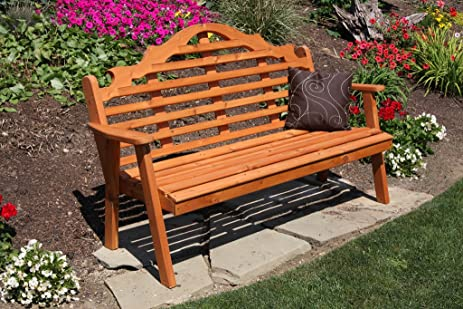 Cedar Outdoor 6 Foot Marlboro Garden Bench   STAINED  Amish Made USA   Redwood