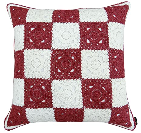 Cuadrado decorativo algodón Crochet Floral funda de almohada ...