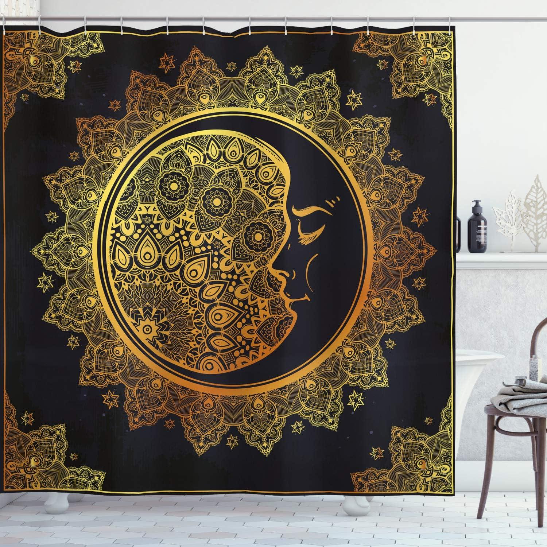 Ambesonne Mandala Shower Curtain, Intricate Ornate Bohemian Crescent Moon Star Mystical Mandala, Cloth Fabric Bathroom Decor Set with Hooks, 70