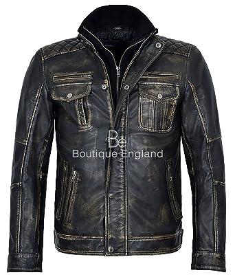 Wolverine 1501 Black Distress Retro Vintage 100% chaqueta de cuero de motorista: Amazon.es: Ropa y accesorios