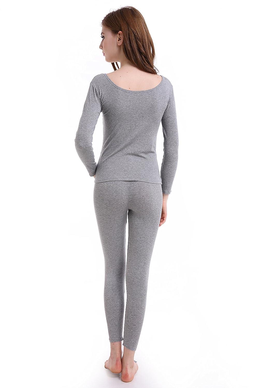 Scoop Neck Ultra Thermal Underwear Women Long Thin Johns Set Top /& Bottom