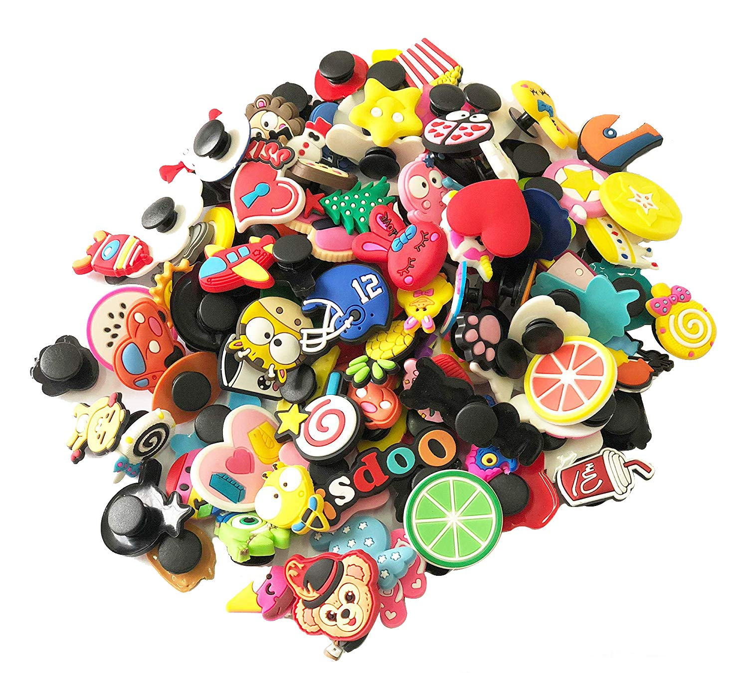 Greentime 120pcs Different Shape Shoes Charms Fits for Croc Shoes & Wristband Bracelet Party Gifts(Mix color)