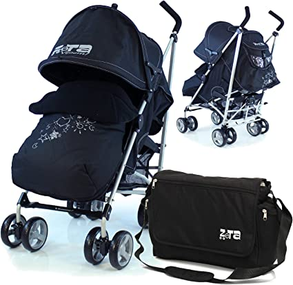 ZETA VOOOM Black Complete with Raincover and Foot Muff Black