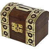 RoyaltyRoute Inspiré de Antique boîte en bois tirelire argent coffre-fort Banque d'économie d'argent
