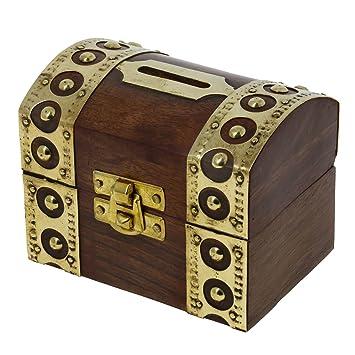 RoyaltyRoute Antiguo Inspirado Caja de Ahorro de Dinero Alcancía de Madera Banco Caja de Seguridad Hucha de Dinero - Caja de Dinero para Niños y Adultos: ...