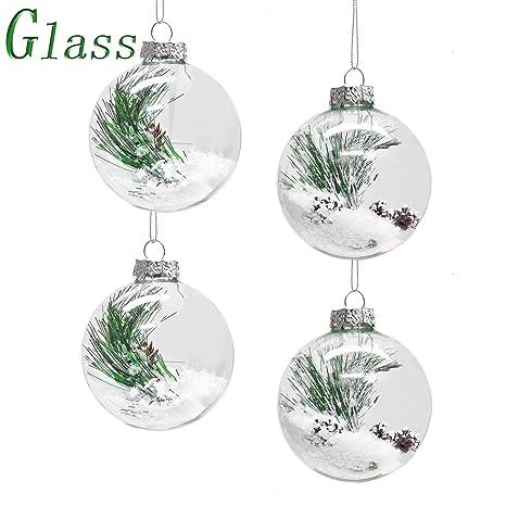 22f3c561b7408 Victor s Workshop Juego de 4 Bolas de Navidad Decoracion arbol Navidad  Adornos navideños de Cristal Transparente